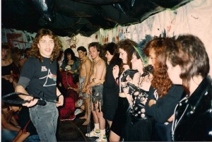 1st AC Ken D'Alessio gets the extras ready @ Cutting Edge Studio in East Meadow, NY on 11/25/88