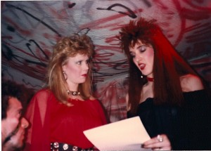Helen Pappas and Madison Di Loren go over their lines @ Flash Studios on 4/8/89