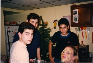 Make-up Effects team headed by Jason Alvino (far left), Rob Panzica, Joe Biondi and Helen Pappas @ Wickham's on 1/7/89