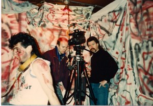 Director Terry Wickham looks at the monitor, while Gabe stands ready to shoot @ Innovators Design Corp on 3/4/89