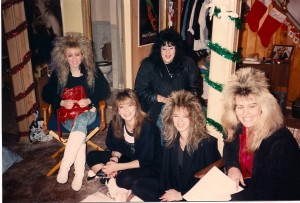 "Joann Onorio (brunette) brought her friends to play the ""high hair babes"" in  Hell @ Wickham's on 11/25/88"