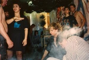 Dry ice was used to fill the set with smokey atmosphere on 11/25/88