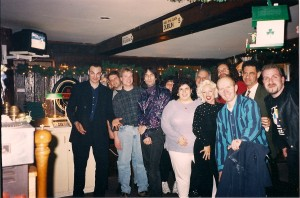 "Celebration after Evil Streets Premiere. Left to right ""Zamota's Mistress"" Producer Joe Zaso, ""Stalk"" Exec. Producer Tim Clark, ""Stalk"" Music Composer Hollis Higgins, Tom Cavanagh, Helene Jones (far back), Paula Wickham, Marc Jones (far back), SaRenna Lee, Mike Pope (back) Terry, Joe Apple, Benny Guzik"