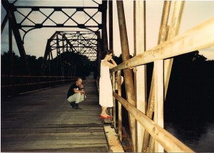 "Directing Perishing Hearts, Terry watches as ""Pamela"" (Stephanie Pyatt) thinks about jumping off the Blackburn Bridge in Blackburn, Oklahoma"
