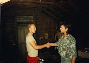 Terry and Kevin shake after a successful all night shoot