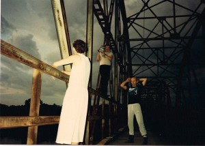 "Director of Photography Jay Bullbear films Stephanie as ""Pamela"" on Blackburn Bridge"