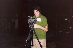 Cinematography/Editor Sean McGinn lines up a shot in Massapequa, NY.