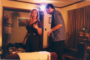 Diane Everheart is OK with getting wired up for the scene shot @ the Tavormina's in Massapequa, NY.