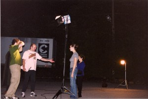 Sean McGinn looks on as Terry directs Rachel Germaine and Jeanne Vasilakis (Kim's mom) who play part of the film crew scene in film within the film.  This was shot in Massapequa, NY.