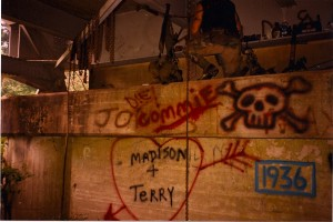 Besides the obvious message of Terry & Madison (who were married at the time) if you look closely you will see guns, pick axes, bullet shells and James Daniels other military accessories.  This set was the underbelly of the Burr's Ferry Bridge.