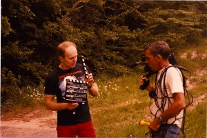 Director Terry Wickham with Director of Photography Dale Webb, who shot the film on a Panasonic Omnivision Video Camera.