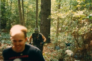 It looks like Terry is actually enjoying being chased by the Killer (James Daniels).