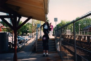 Cameraman Michael Schwartz films Michael Knight leading his band @ Williston Park Train Station.