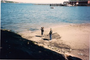 Michael Schwartz films Michael Knight (offscreen) atop Throggs Neck Jetty.
