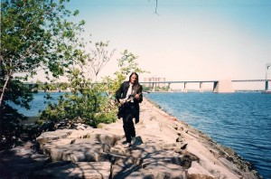 Michael Knight looks right at home @ Throggs Neck Jetty.  Terry and Michael would become close friends working together on Michael's Guitar 2001 Magazine, making the film Evil Streets (1998) together and later the short film Sarah (1990).
