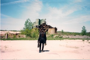 Michael Knight walks towards partially demolished factory location in Port Washington Harbor, NY.  Terry had filmmed part of his feature film Out of Touch 4 years prior.