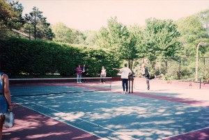 """Terry asks, """"Tennis anyone?""""  @ Christopher Morley Park."""