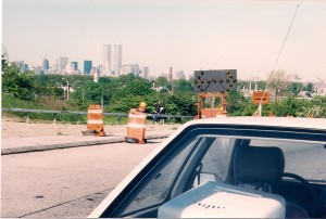 Look in the middle of this photo, past the guardrail, you can see Terry direct Michael Schwartz how to shoot Michael Knight against the skyline of New York City.  The World Trade Center Towers stand tall in the distance.