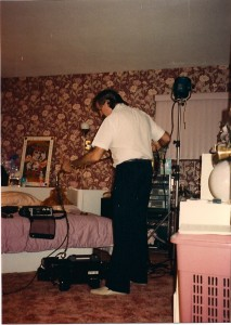 One of 3 Directors of Photography on the film, Dennis Gartner came out of the Wedding videography business.  Here he  lights the important bedroom scene at Proimos Residence in Dix Hills, NY