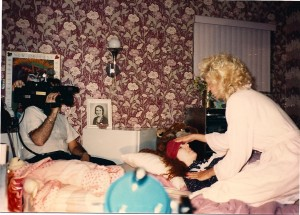 "DP Dennis Gartner photographs ""Mrs. Lavell"" (Helen Proimos) attending to her distressed daughter Joann (Madison Di Loren) @ Proimos Residence in Dix Hills, NY.  The role of the villain in the feature film Out of Touch was originally written for the blonde actress, but decided not to do the film."