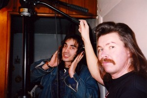 Jimmy Cactus listens to phones, while Gabe Gabrielsen shoots @ Flash Studios in Central Islip, NY.  Both Jimmy and Gabe acted as Directors of Photography on the film.