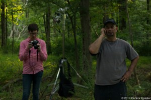 Editor Robert Figueira and DP Edwin Figueroa on set in the woods of Califon, NJ 7/12/14