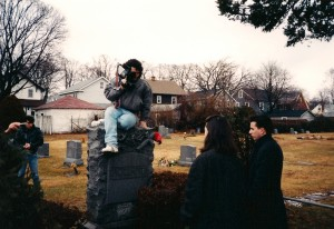 Cameraman Lou Trapani takes a unique positon to get a higher angle on Deborah and Frank Bartell @ Rockville Cemetery in Lynbrook, NY.