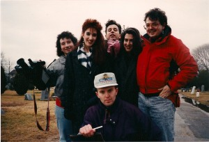 """Oh Father"" cast & crew; Terry kneeling, then left to right; Cameraman Lou Trapani, Writer/actress Madison Di Loren, Frank Bartell, Deborah and Bart Falcone @ Rockville Cemetery in Lynbrook, NY."
