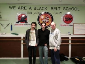 "Sound Designer Henrik Soeberg, co-star Jonathan Weirich (""Minister Malcom"") and Director Terry Wickham @ Shunato Karate and Fitness Center in Baldwin, NY on 3/29/15"
