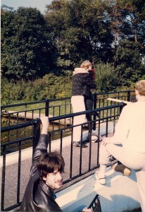 PA Steve Grubstein looks back while scene at the bridge was filmed @ Silver Lake County Park on 10/16/88