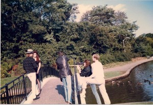 Kia & Madison on bridge, while Kenny films, Terry watches @ Silver Lake County Park in Baldwin, NY on 10/16/88