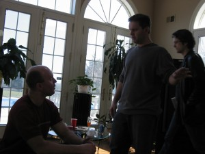 "Director Terry Wickham (seated) and Tim Clark discuss the scene at ""Trevor's"" mansion 03/03 in Colt's Neck, NJ"