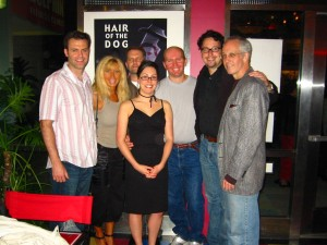 Tyler Evans, Doris Dany, Tim Clark, Melanie Brown, Terry Wickham, Sean McGinn and Steve Deighan stand together @ Hair of the Dog Premiere in Manhattan