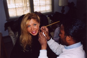 Doris Dany gets her make-up done by Special Make-up Effects artist Anthony Jones @ Kilbridge home @ Colts Neck, NJ