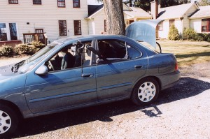 DP Sean McGinn rigged his camera on the window of the car to shot the dialogue scene.  This 2002 Nissan Sentra is actually Terry real car.