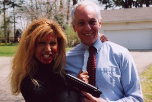 Doris Dany stays in character while Steve Deighan is all smiles before she gets her hands on him