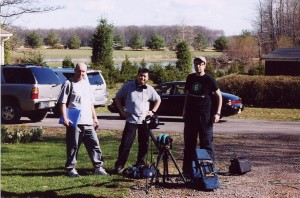 The tree amigos on HOTD left to right: Director Terry Wickham, Soundman Gim Lay and DP/Editor  Sean McGinn outside Kilbride home in Colt's Neck, NJ 03/03