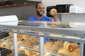 Micah Brown at work in Goldberg's Famous Bagels Riverhead, NY
