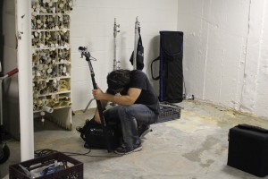 "Sound Recordist Patrick Reilly at work in ""Police Interrogation Room"" Riverhead Town Hall.  Photo by Brad ""Bizzy"" Beauge"