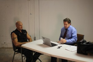 Ralf Scheepers and Kevin Cusick prepare to do a scene in the Interrogation Room in Riverhead, NY