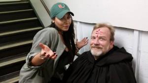 Make-Up Artist Sarah Cruz and Producer/Actor Richard Kern in Riverhead Town Hall Basement 9/26/15
