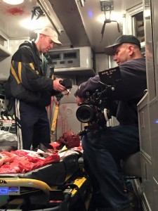 Director Wickham and Director of Photography Edwin M. Figueroa prepare to capture the inside of the emergency vehicle in all it's bloody glory. 9/27/15