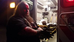 Special Make-Up Effects Artist Church Haley gets his gloves on to spread his gruesome touch throughout the ambulance