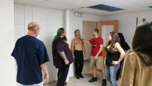 "Stunt Coordinator Matt Solazzo shows Diana Noris how to rip out ""Captian Friedkin's"" (David Denowitz throat"