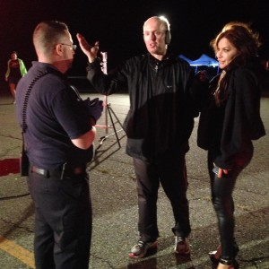 Actor/EMS Technical Adisor Ed Gorman and Diana Noris listen to direction