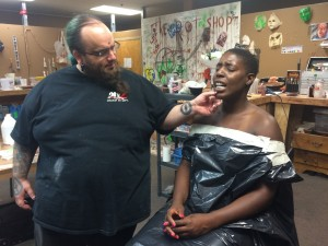 Church Haley prepares to cast Vanessa Michelle Charles' head