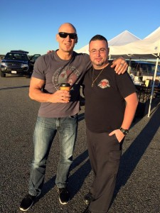 The Devil's Five star Ralf Scheepers with Ed Gorman on set airport runway Calverton, NY on 9/20/15