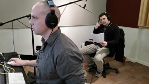 "Thomas Jackson is giving Stash the audio care the movie deserves.  Actor Jonathan Weirch prepare to add his voice for ""Minster Malcolm"" @ Audio Engineering School in NYC"